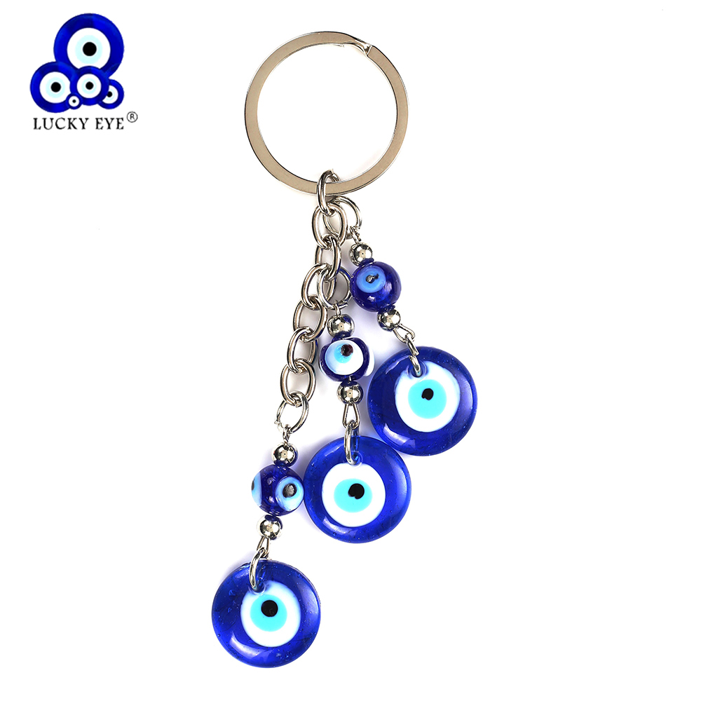 Qualified Lucky Eye Blue Glass Evil Eye Charms Keychain Tassel Glass Pendent Key Chain Alloy Car Key Chain Fashion Jewelry Gifts Ey5043 Jewelry Sets & More