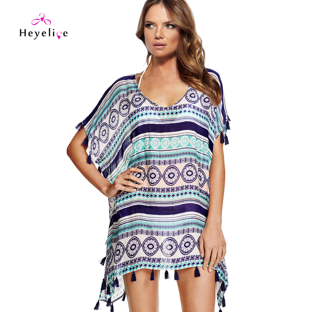 1374344bbc694 New Printing Chiffon Bikini Cover-Up Women Sexy Tassels Beach Cover Up  Holiday Swimwear Covers Girls Favor Summer Dresses
