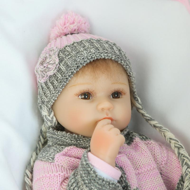 New Soft Silicone Vinyl Dolls 16 inch 42cm Doll Reborn Baby hat braids Girl Handmade Cotton