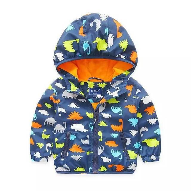 2016 de Otoño de Los Bebés Dinosaurios de impresión chaqueta con capucha de Esquí-desgaste de los niños al por mayor