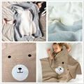 Новорожденный ребенок Одеяло Вязаные Малышей Пеленание Медведь Кролик Одеяла Постельные принадлежности Охватывает bebes Кувертюр новорожденных фотографии реквизит