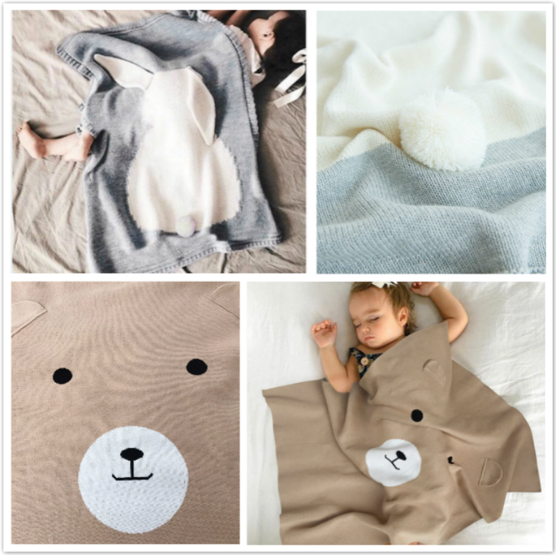 Newborn baby Blanket Knits Toddler Swaddle Bear Rabbit Blankets Kids Bedding Covers bebes Couverture newborn photography props aibeile 2017 new 3 colors bear elephant flannel baby blanket newborn soft cartoon blankets 100 100cm for beds thick warm kids