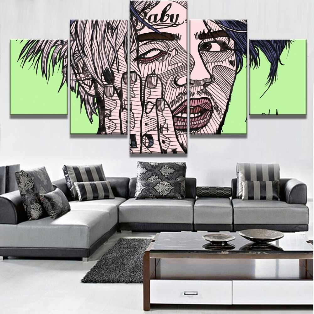 Modular 5 Piece Canvas Art Lil Peep Poster Modern Decorative Paintings on Canvas Wall Art for Home Decorations Wall Decor
