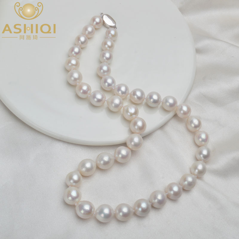 ASHIQI 10-12mm Big Natural Freshwater Pearl Necklace For Women Real 925 Sterling Silver Clasp White Round Pearl Jewelry Gift
