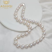 ASHIQI 9 11mm Big Natural Freshwater Pearl Necklace for Women Real 925 Sterling Silver Clasp White Round Pearl Jewelry Gift