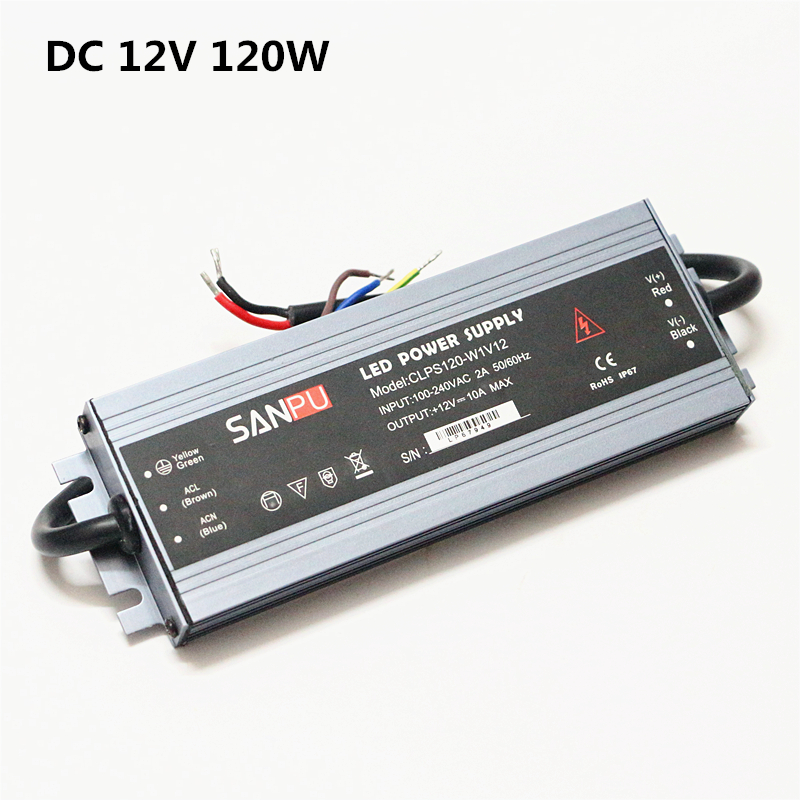 LED Strip Power Supply 110V 220V to 12V LED Driver IP67 Waterproof Ultra Thin LED Light Transformer 60W 100W 120W 150W 200W