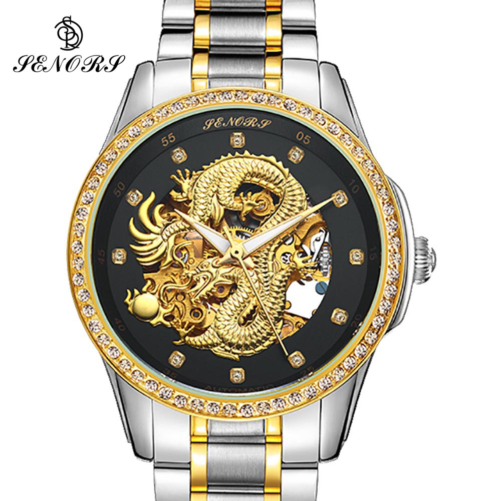 Dragon Skeleton Automatic Mechanical Watches For Men Wrist Watch Stainless Steel Strap Gold Clock 30m Waterproof Mens Hodinky binger couple automatic watch men skeleton mechanical watch for women wristwatch stainless steel strap waterproof watch b 5066m