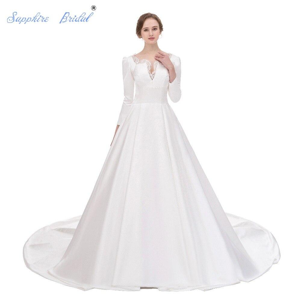a48011be7b2e74 Sapphire Bruids Vintage Trouwjurk 3 4 Mouwen Wit Ivoor Eenvoudige Satin  Elegante Bruidsjurken Met Luxe Kant in Sapphire Bruids Vintage Trouwjurk  3 4 Mouwen ...