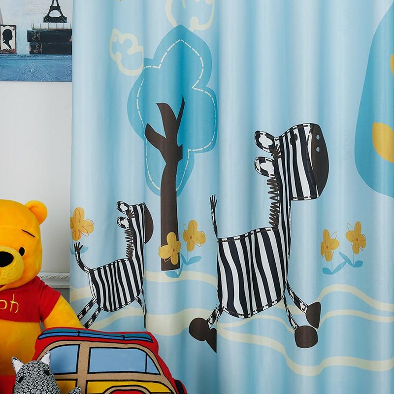 Custom Made 2pcs Grommet Drapery Drape Curtain Nursery Kids Children Room Window Dressing 200cm x 260cm Blue Trees Horses Pony