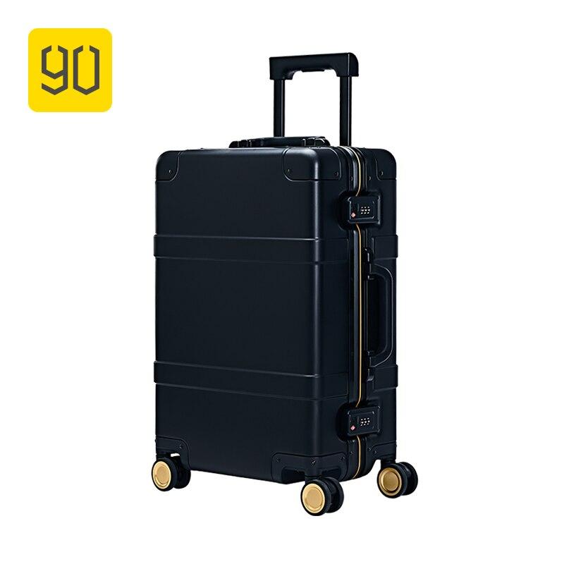 XIAOMI 90FUN Métal Valise En Alliage D'aluminium Bagages Bagages de avec Spinner roues Intelligent TSA Costoms Serrure Noir 20 Pouces