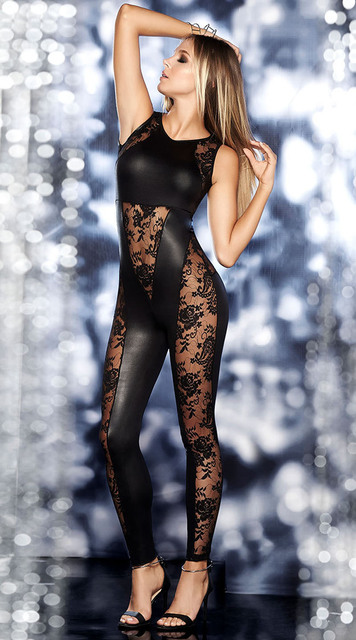 8e48374bad Sleeveless Faux Leather Bodysuit Black Perspective Floral Lace Patchwork  Jumpsuit Hot Sexy Backless O Neck Tights Leotard