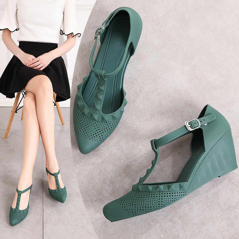 Frauen Pumpen Sommer Damen Keil High Heels Frau T Gebunden Weiche Komfortable Plattform Weibliche Casual High Heels Schuhe 2020 Neue
