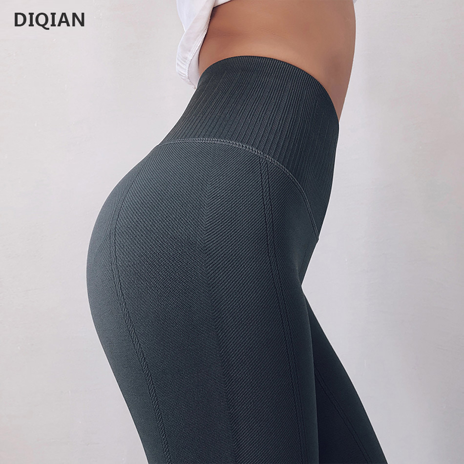 Women's Compression Sports Yoga Pants Grey knitted Seamless Leggings Elastic Gym Fitness Workout Running Tights Push Up Trousers