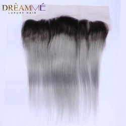 1b серые прямые волосы кружева фасады серебристо-серый 13x4 бразильские Remy кружева Фронтальная застежка отбеленные узлы с ребенком волос DremMe