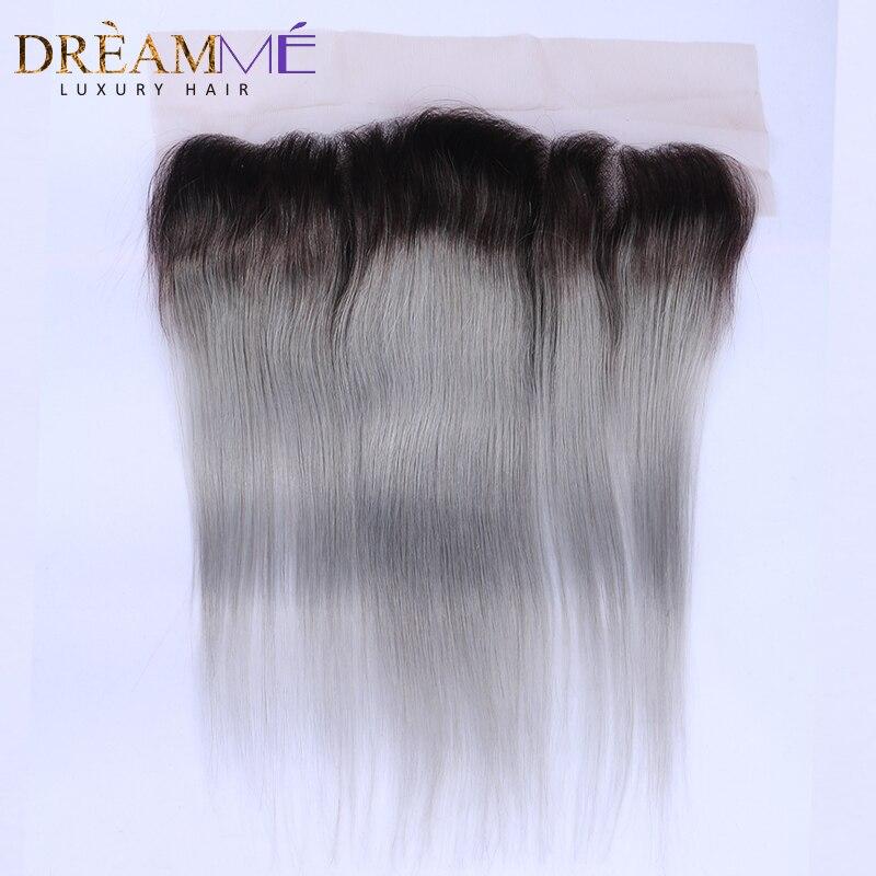 1b szary proste włosy koronki fronty srebrny szary 13x4 brazylijski Remy ludzki włos koronki Frontal zamknięcie bielone węzłów z dzieckiem włosy do włosów DremMe w Zapięcia od Przedłużanie włosów i peruki na AliExpress - 11.11_Double 11Singles' Day 1