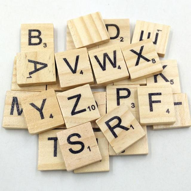 Best Selling 100pcs Wooden Scrabble Tiles Black Letters Numbers For