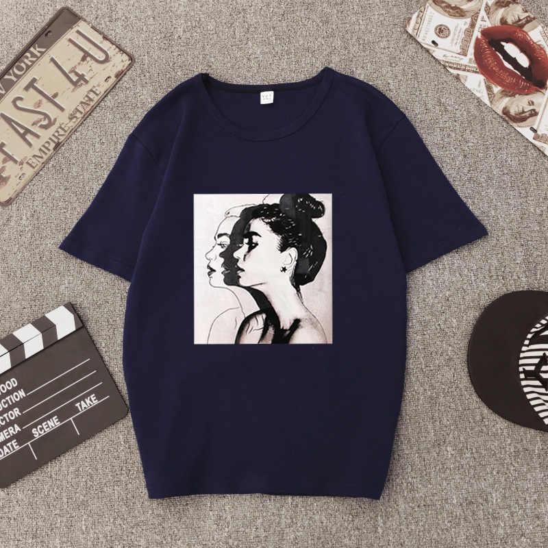 98d85071be1d045 Новый корейский принт ulzzang с короткими рукавами женская футболка Женская  свободная нижняя рубашка плюс размер футболка