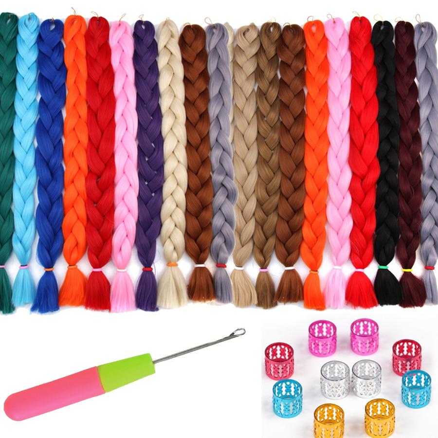 AliLeader 82 Inch Synthetic Crochet Braiding Hair Extensions 165G Jumbo Braid Silver Purple Pink Blue 1/5/10 Packs Bulk Hair