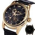 GANADOR DEL MEJOR Royal Diamante Negro Reloj de Oro Para Hombre Relojes de Primeras Marcas de Lujo Mecánico Esquelético Del Reloj Correa de Cuero de Negocios