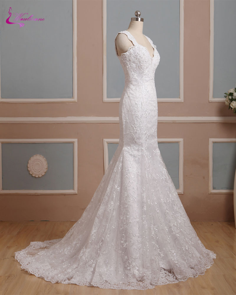 Mermaid Style Lace Wedding Gowns: Waulizane New Style Deep V Neck Mermaid Wedding Dresses