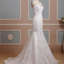 Waulizane Style V-neck Mermaid Wedding Dresses Sleeveless