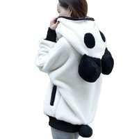 New Women Winter Warm Clothes Coats Ladies Cute Bear Ear Panda Soft Zipper Hoodie Coat Women Fashion Hooded Jacket Outerwear