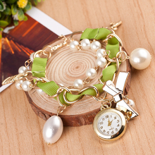Hot Sale Black Ribbon Charms Bracelet Top Luxury Watch For Women Imitation Pearl Charms Gold Plated Pendant Women Watch 0.21