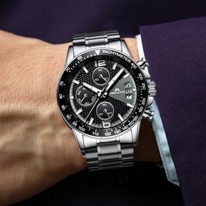 Image 3 - MEGALITH גברים שעונים עסקים קוורץ 30M עמיד למים נירוסטה רצועה שעונים עבור גברים של תאריך אוטומטי שעוני יד שעון Relojes