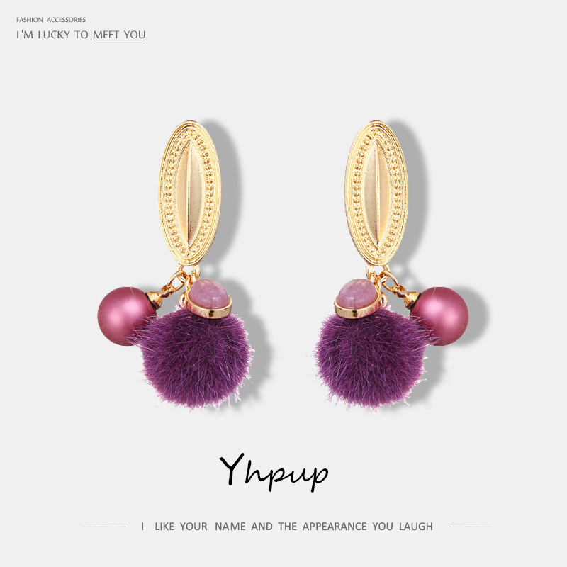 Yhpup New Fashion Zinc Alloy Pompom Drop Earrings Charms Romantic Earrings For Women Gifts Boucle D'oreille Pendante Femme Party