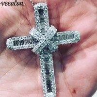 Vecalon Statement Lover Cross pendant 925 Sterling silver 5A Cz Stone cross Pendant necklace for Women Men Party Wedding Jewelry
