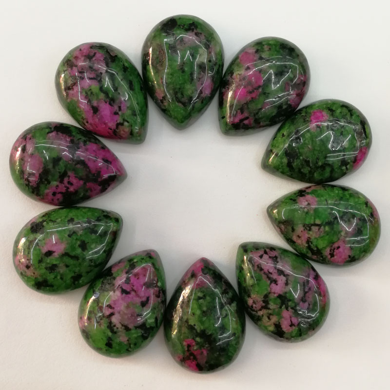 Wholesale 13x18mm natural epidote stone beads teardrop CAB CABOCHON 50pcs for jewelry accessories Free shipping