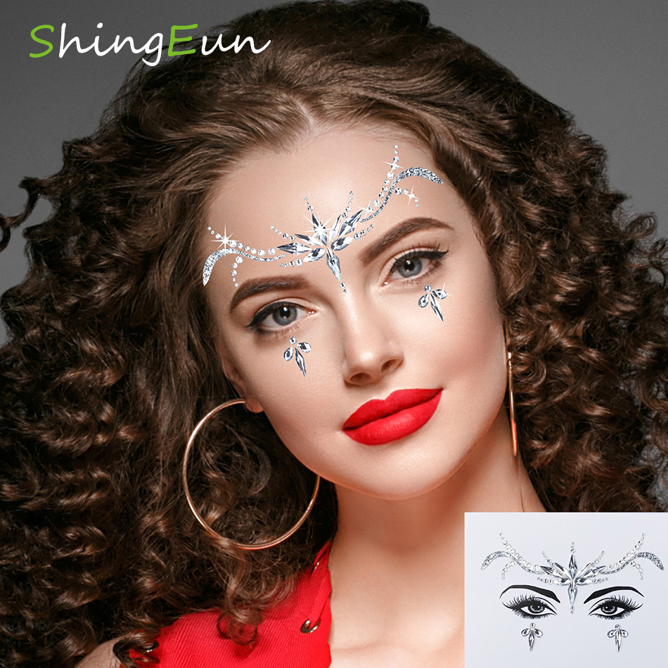 Women Mermaid Face Gems Glitter,Rhinestone Rave Festival Face Jewels,Crystals Face Stickers, Halloween Face Jewels ,Eyes Face Bo