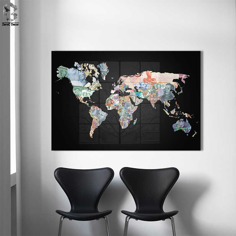 Vintage Banknote World Map Painting Canvas Painting Poster and Print Wall Picture for Living Room Cuadros Decor No frame