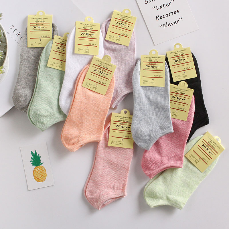 New Summer Women   Socks  , Casual Cute Solid Cotton   Sock  , Candy Color Fashion Ankle Boat Low Cut Short   Socks