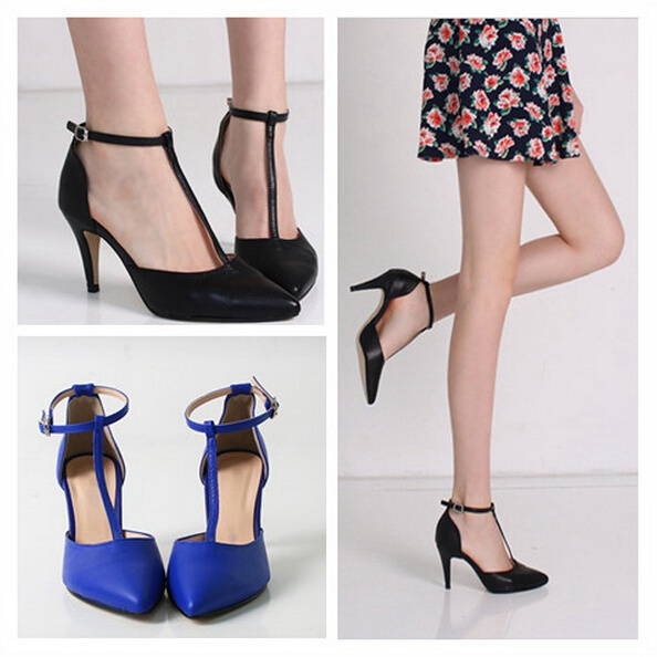 British Style Black Nude Royal Blue Closed Pointed Toe Sandals ...