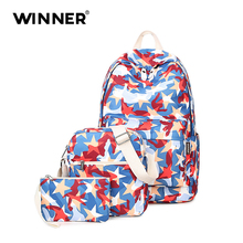 Новый Водонепроницаемый ноутбук рюкзак школьные сумки для девочек геометрические принты 3 шт./компл. школьные рюкзаки Mochila Infantil высокой емкости