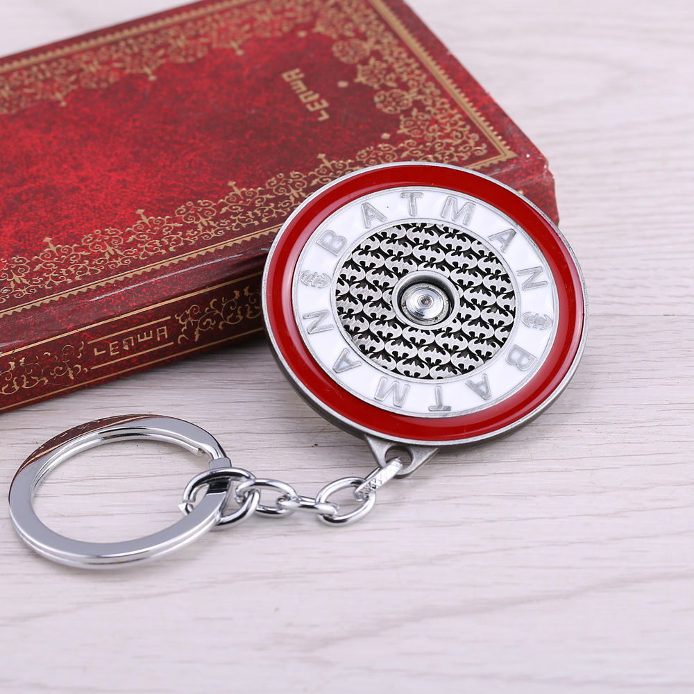 Jewelry Sets & More 1 Pcs Batman Keychain 3 Colors Rotatable Round Novelty Key Chains Key Ring For Valentine Gift Wholesale