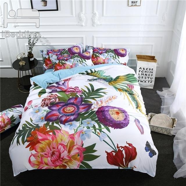 3Pcs/Set Bloom Flower Printed Duvet Cover Set 3D Bedding Sets Queen King Twin Size