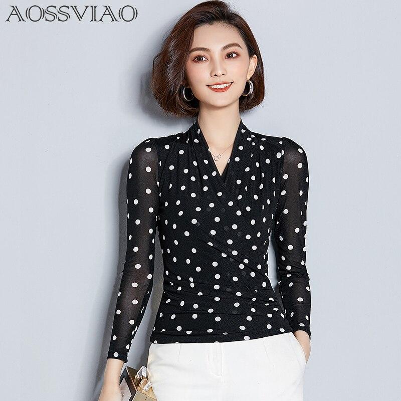 AOSSVIAO Office Blusas Chemise Femme Shirt Women Polka Dot Print Chiffon Blouse Tops Feminine Hippie Chic Clothes Women Female