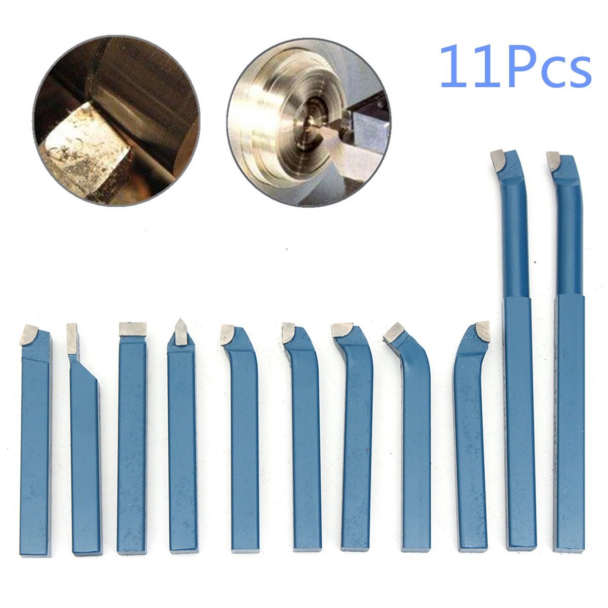 11 x 12mm(1/2) Mini Metal Lathe Tool Set Carbide Tip Cutting Turning Boring Bit Carbide + Steel for Ordinary/CNC Metal Lathe solid carbide c12q sclcr09 180mm hot sale sclcr lathe turning holder boring bar insert for semi finishing