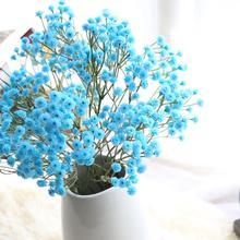 Blue Pink Yellow Artificial Silk Fake Flowers Babys Breath Flower Big Branch DIY Wedding Decoration Party Home Stamen Wreath
