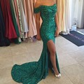 Vestido De Festa 2016 fashion green sequin prom dresses 2016 long boat neck slim high slit women pageant gown for formal party