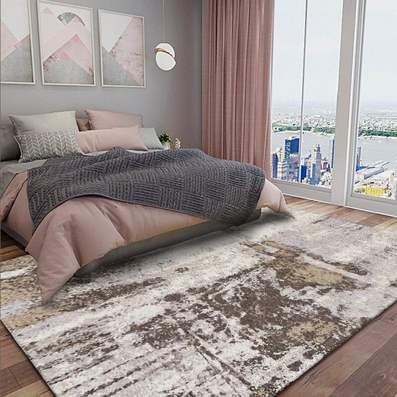 Abstract Modern Camel Gray Bedroom Bedside Rug Living Room Kitchen