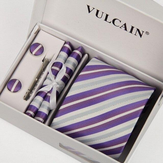 SHENNAIWEI галстуки для мужчин платок и запонки и заколка для галстука с коробка подарка 5 sets фиолетовый и серебряный полосатый 8 см gravatas lotes