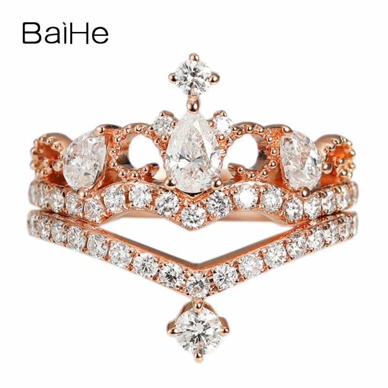 BAIHE Solid 14K Rose Gold(AU585) 0.45ct Certified H/SI 100% Genuine Natural Diamonds Wedding Women Trendy Fine Jewelry Gift RingBAIHE Solid 14K Rose Gold(AU585) 0.45ct Certified H/SI 100% Genuine Natural Diamonds Wedding Women Trendy Fine Jewelry Gift Ring
