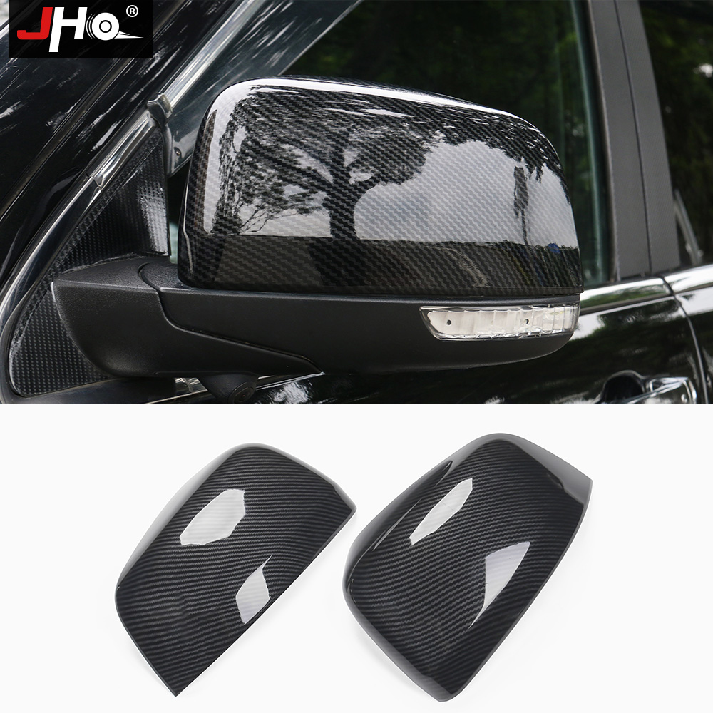 JHO Side Door Rearview Mirror Cover Trim For 2014-18 Jeep Grand Cherokee 15 16 17 ABS Carbon Fiber Grain Car Styling Accessories