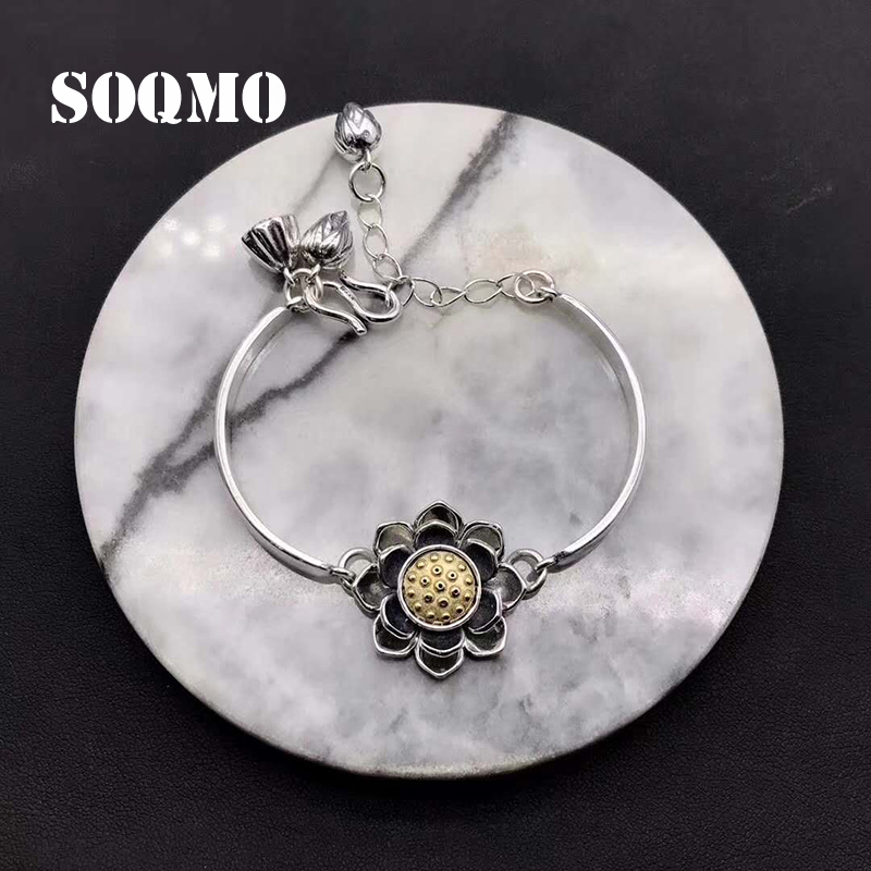 SOQMO Bracelets & Bangles Real 925 Sterling Silver Lotus Bangle For Women Vintage Rotatable Bracelet Manchette Femme SQM141 925 sterling silver expandable bracelet for women vintage lotus charm flowers engraved bracelets