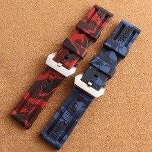 Banda de lujo 24mm camuflaje Azul rojo De Goma de Silicona Resistente Al Agua con hebilla de acero inoxidable Correa de Reloj fit marca correa