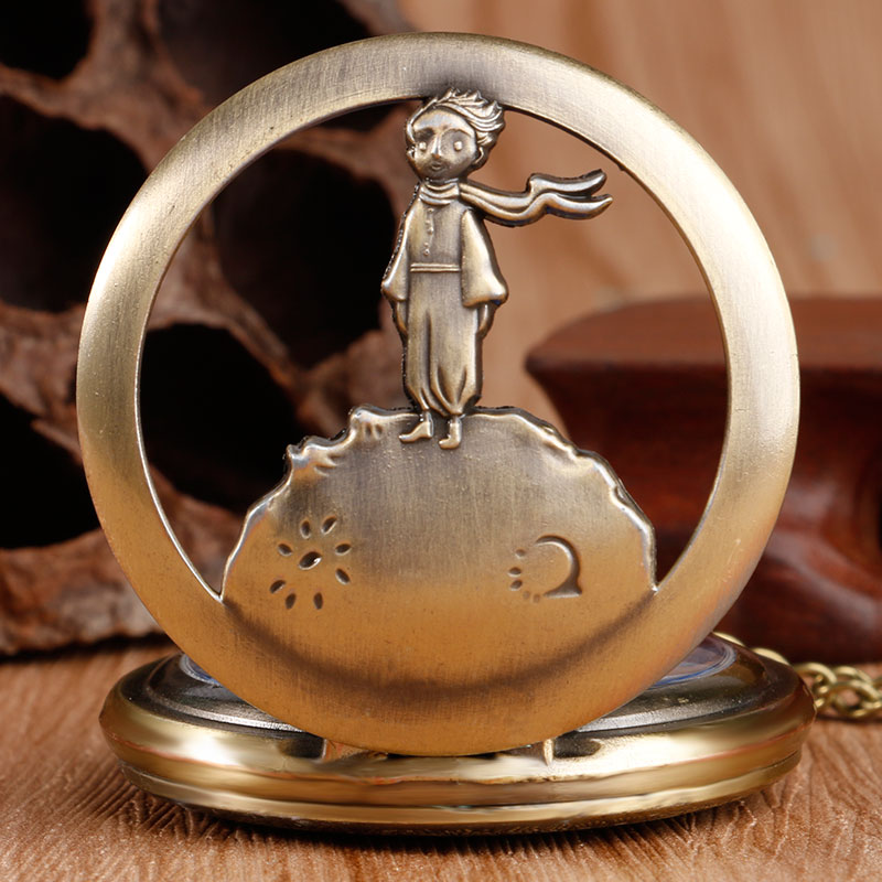 Retro Bronze Blue Dial The Little Prince Movie Planet Quartz Pocket FOB Watch Necklace Pendant Popular Gifts for Boys Girls Kids