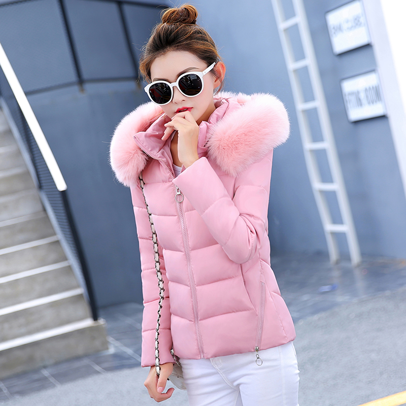2018 New Autumn Winter Jacket Women   Parkas   for Coat Fashion Female Down Jacket With a Hood Large Faux Fur Collar Coat